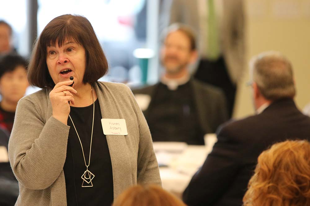 Karen Asbury, principal of St. Rose School in Northeast Portland, makes a point during a Jan. 20 gathering of educators to discuss a strategic plan for Archdiocese of Portland Schools. (Ed Langlois/Catholic Sentinel)