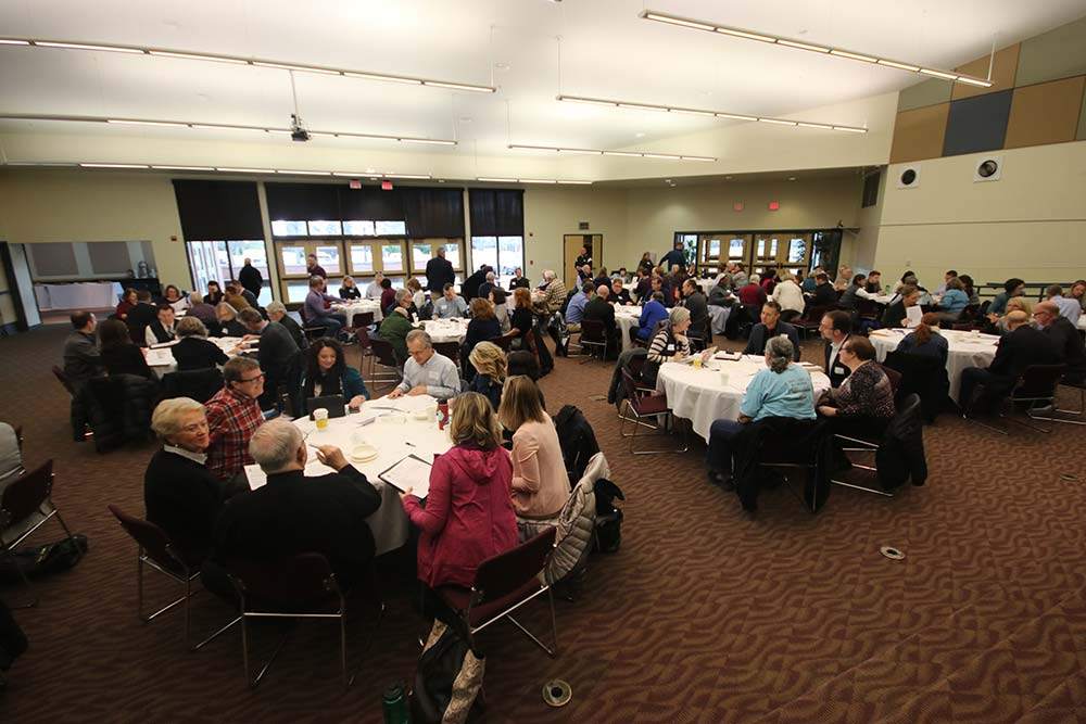 About 100 educators gathered at St. Pius X Parish in Portland Jan. 20 to discuss a strategic plan for Archdiocese of Portland Schools. (Ed Langlois/Catholic Sentinel)