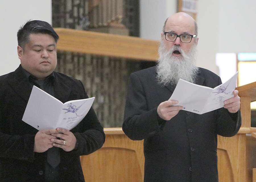 Markdavin Obenza and David Stutz sing a selection of Tudor-era and early American-era sacred music with the rest of the Tudor Choir presented by Cappella Romana at St. Matthew Parish in Hillsboro March 4. (Sarah Wolf/Catholic Sentinel)
