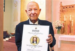 Knight of Columbus honored for 75 years of church service