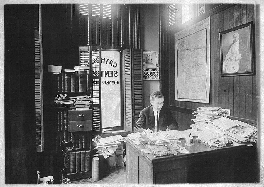 John O'Hara works at his editor's desk at the Catholic Sentinel. He led the paper from 1903 to 1928. (Sentinel archives)