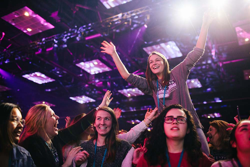 Young people react Jan. 5 during SEEK2019 at the Indiana Convention Center in Indianapolis. The Jan. 3-7 conference drew more than 17,000 young adult Catholics from around the world. (CNS photo/courtesy Fellowship of Catholic University Students) See stories slugged SEEK- Jan. 7 and 8, 2019.