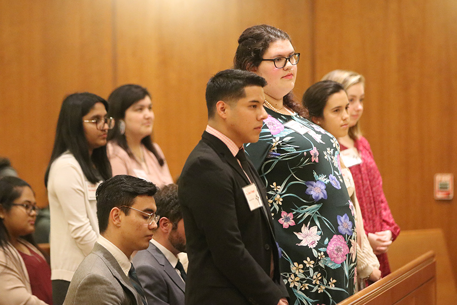 The University of Portland candidates for confirmation renew their baptismal vows during the confirmation Mass.