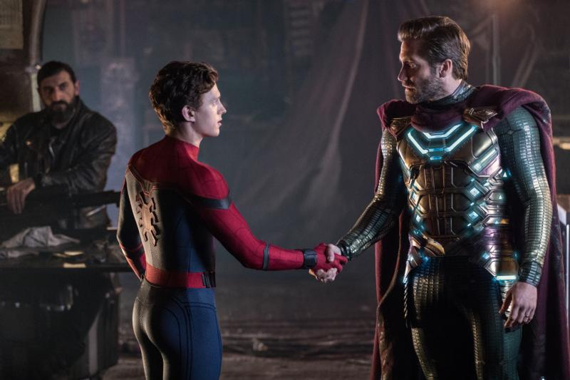 "Numan Acar, Tom Holland and Jake Gyllenhaal star in a scene from the movie ""Spider-Man: Far From Home."" The Catholic News Service classification is A-III — adults. The Motion Picture Association of America rating is PG-13 — parents strongly cautioned. Some material may be inappropriate for children under 13. (CNS photo/Sony)"