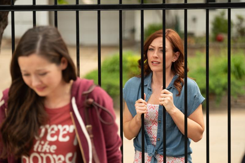 "Ashley Bratcher, right, who plays Abby Johnson, is pictured in a scene from the film ""Unplanned,"" the story of a former Planned Parenthood clinic director and her decision to join the pro-life movement. The Canadian distributor of the movie said two independent theaters have canceled screenings after managers and owners received ""serious threats."" (CNS photo/Unplanned.com)"