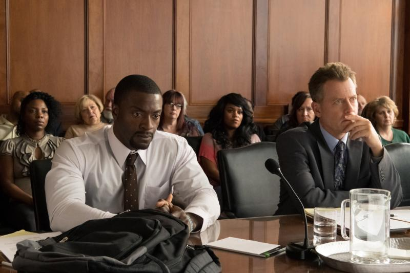 "Aldis Hodge and Greg Kinnear star in a scene from the movie ""Brian Banks."" The Catholic News Service classification is A-III — adults. The Motion Picture Association of America rating is PG-13 — parents strongly cautioned. Some material may be inappropriate for children under 13. (CNS photo/Bleecker Street)"