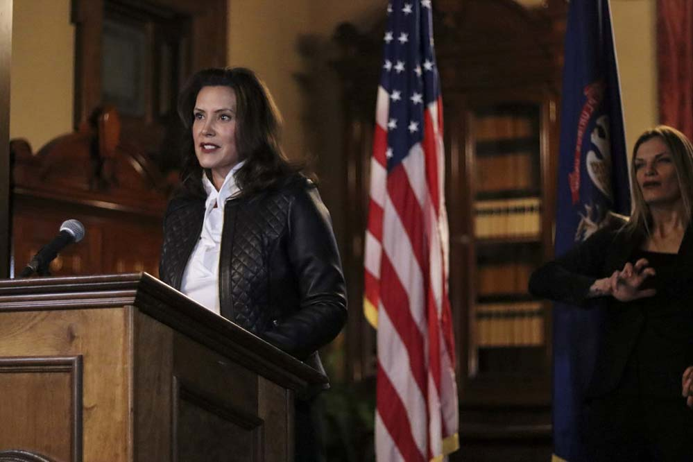 Michigan Gov. Gretchen Whitmer speaks during an Oct. 8 news conference in Lansing, Mich., after 13 people, including seven men associated with the Wolverine Watchmen militia group, were arrested and charged with a plot to take Whitmer hostage and attack the state Capitol building. (CNS photo/Michigan Governor's Office via Reuters)