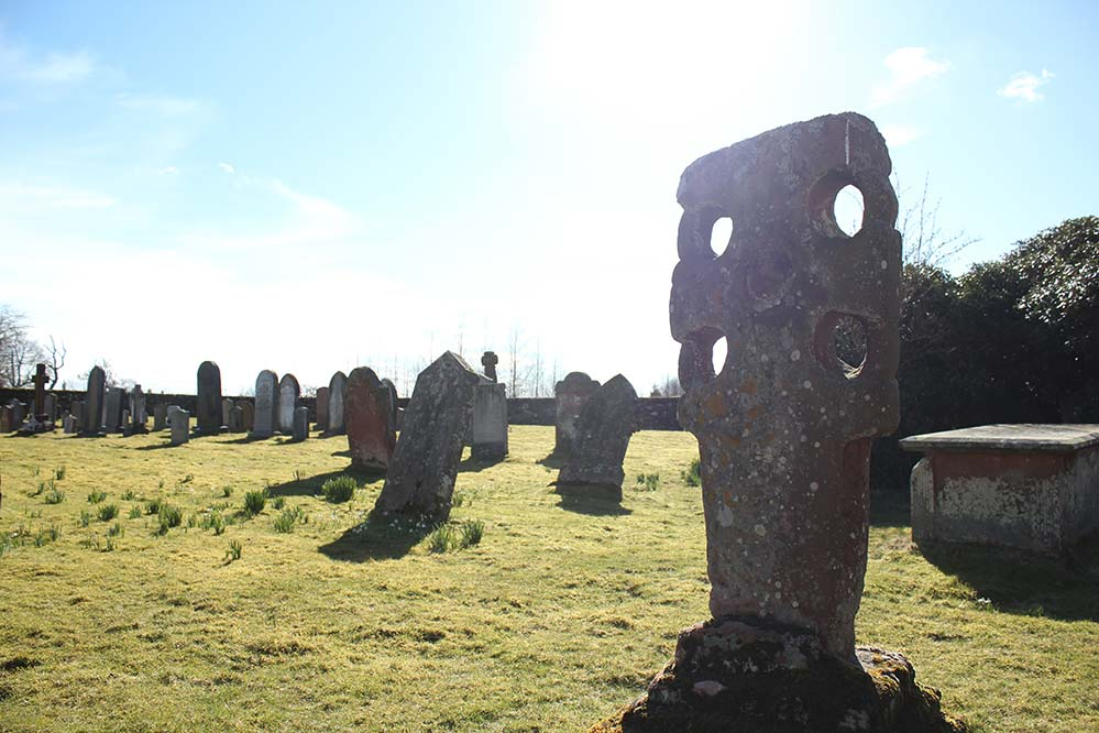 A Celtic grave marker stands near a church near Glassonby in Northwest England. (Ed Langlois/Catholic Sentinel)