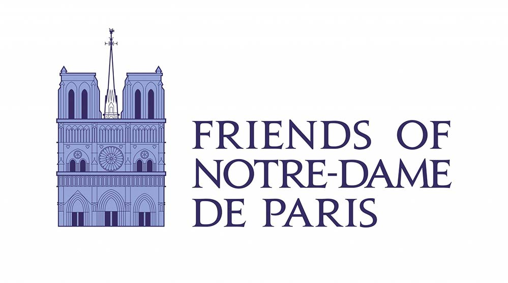 This is the official logo for Friends of Notre-Dame de Paris. Two years after a fire destroyed much of the church's wooden structure, the fundraising group is urging people to sponsor a statue or gargoyle to help with reconstruction. (CNS photo/courtesy Friends of Notre-Dame de Paris)