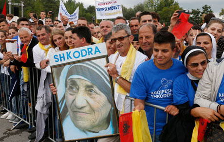 Crowds await the arrival of Pope Francis for his Mass in Mother Teresa Square in Tirana, Albania, in 2014. CNS