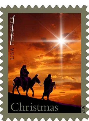 One of the official holiday stamps issued by the U.S. Postal Service features a silhouette of the Holy Family fleeing to Egypt. The image, released Oct. 10, is a change from the portrayal of Madonna and child featured on the Christmas stamp for close to 50 years.