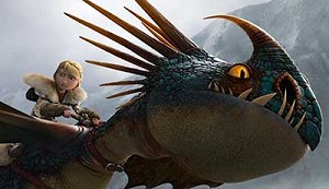 "Astrid rides her faithful dragon in a scene from the movie ""How to Train Your Dragon 2."" Catholic News Service classification, A-I -- general patronage. Motion Picture Association of America rating, PG -- parental guidance suggested. Some material may no t be suitable for children. (CNS photo/DreamWorks Animation)"