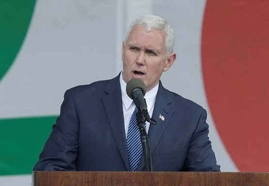 CNS photo/Yuri Gripas, ReutersU.S. Vice President Mike Pence speaks during a rally at the annual March for Life in Washington Jan. 27.