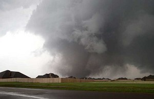 Massive tornado approaches the town of Moore, Okla., May 20.